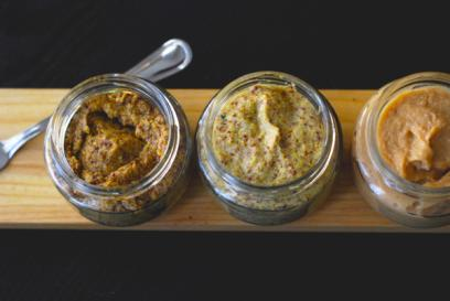 Homemade mustard trio