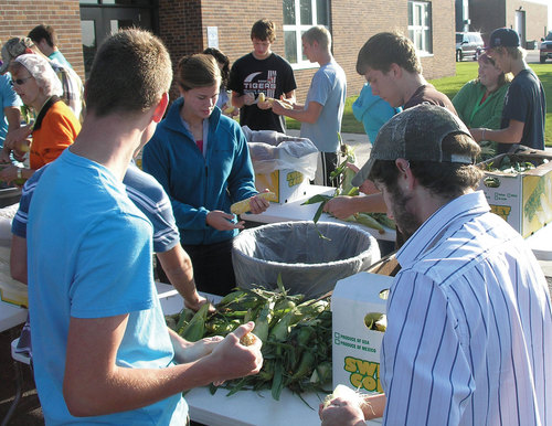 Morris Area ag students on Tuesday husked sweet corn that will be included on the school's cafeteria menu. More and more, local foods are being incorporated into food service offerings. Photo thanks to agweek.com.