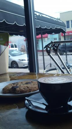 Angry Catfish Cappuccino and Baker's Wife Cookie