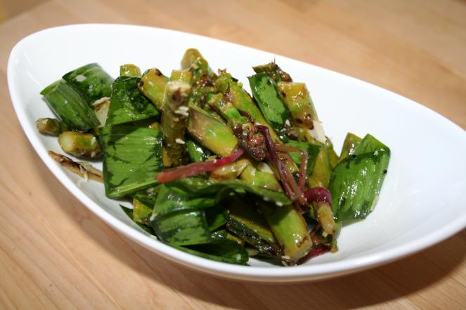 Grilled asparagus and ramp salad