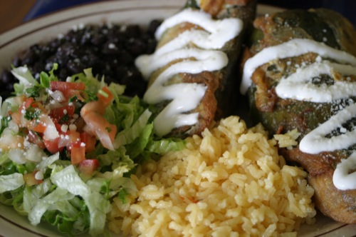 Chile rellenos with black beans