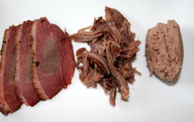 From left: goose pastrami, goose confit, goose liver pâté