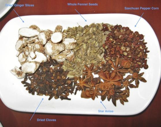 Some of the spices that make up a Chinese pantry