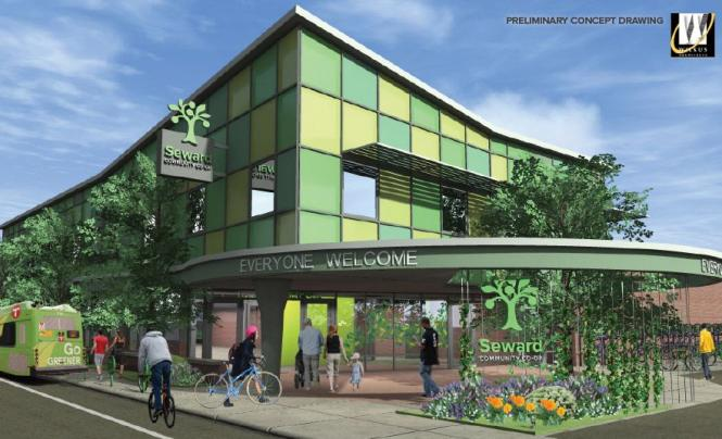 "A rendering of the second Seward co-op, with ""Everyone Welcome"" awning"