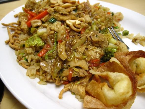 A typical Blue Plate Special: Chicken-cashew stir fry with chow mein noodles, fried rice, and cream cheese wontons