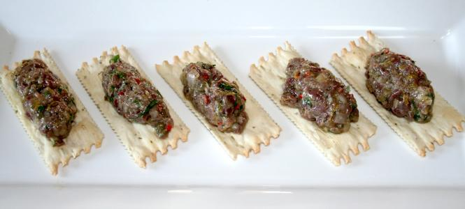 Duck heart tartare