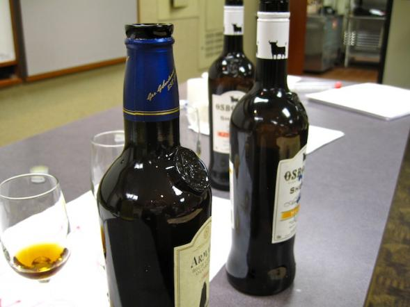 Some of the sherries we sampled.