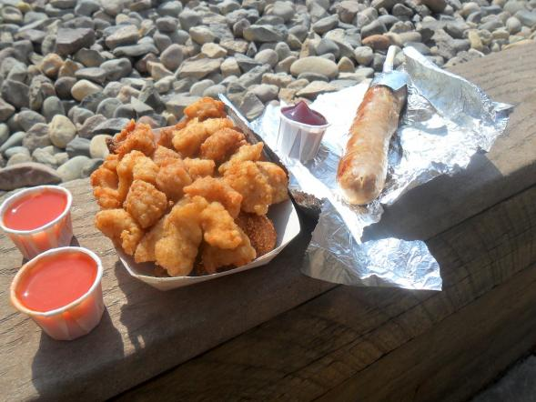 Fried gator with hushpuppies and gator on a stick