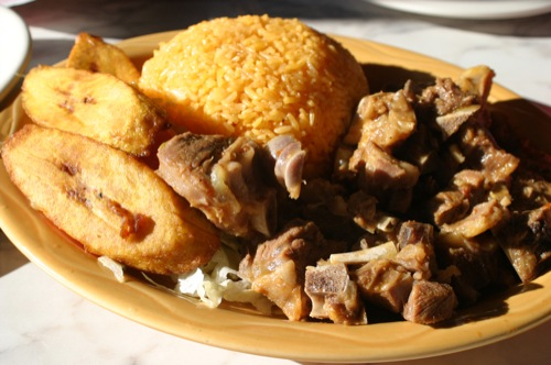 The goat stew with rice and plantains from El Guayaquil