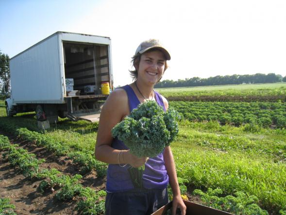 Holly with her perfect bunch of kale