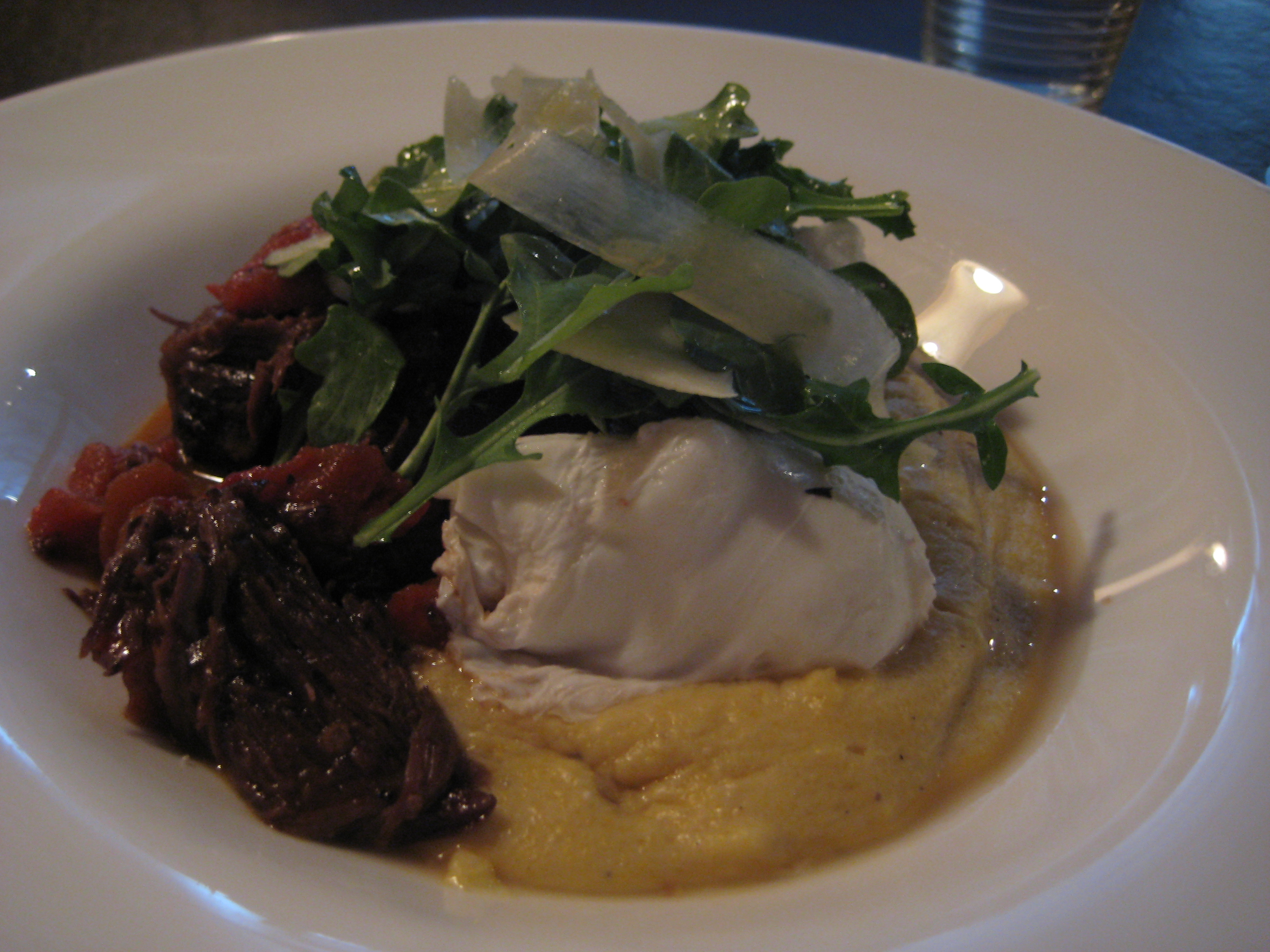 Braised beef, poached eggs, parmesan polenta