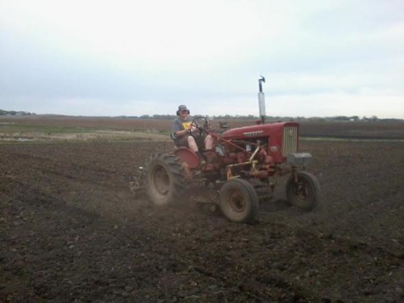 Karla doing some tilling during one of our precious dry days