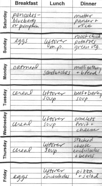 The author's menu plan