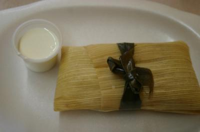 Spinach, mushroom and cheese tamal w/sour cream