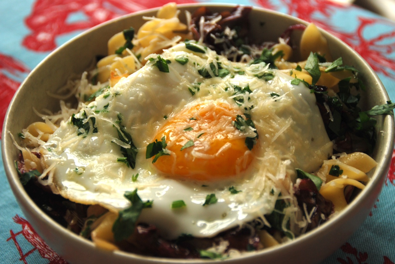 Egg pappardelle bagna cauda wilted radicchio and an olive oil