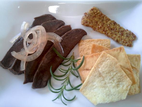 Pickled venison heart plate