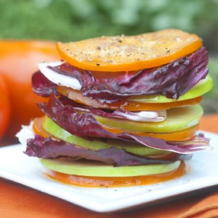 Persimmon stack with radicchio and green apples